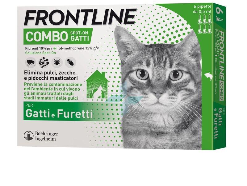 Frontline Combo Linea Pulci Zecche Pidocchi Gatti Furetti Spot-On 6x0.5m